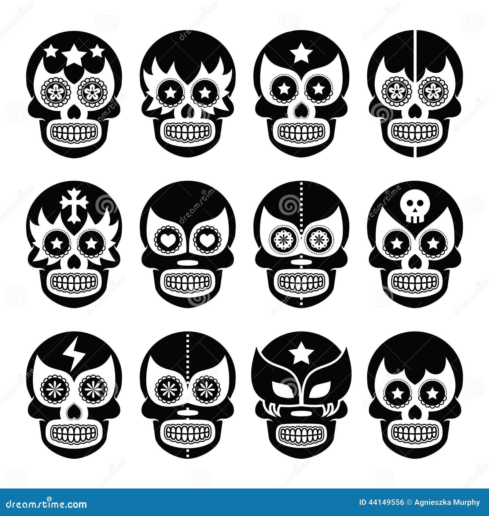 Lucha Libre - Mexican Sugar Skull Masks Black Icons Stock