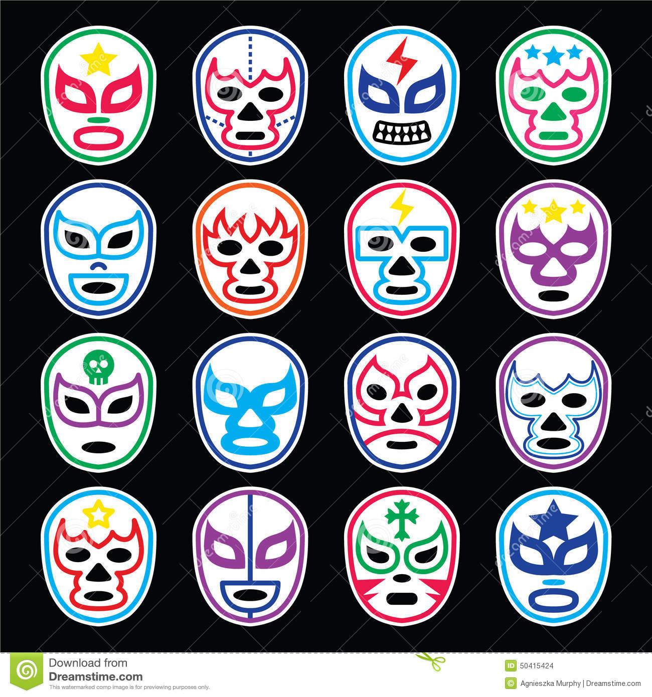 Lucha Libre Mexican Wrestling Masks Icons On Black Stock
