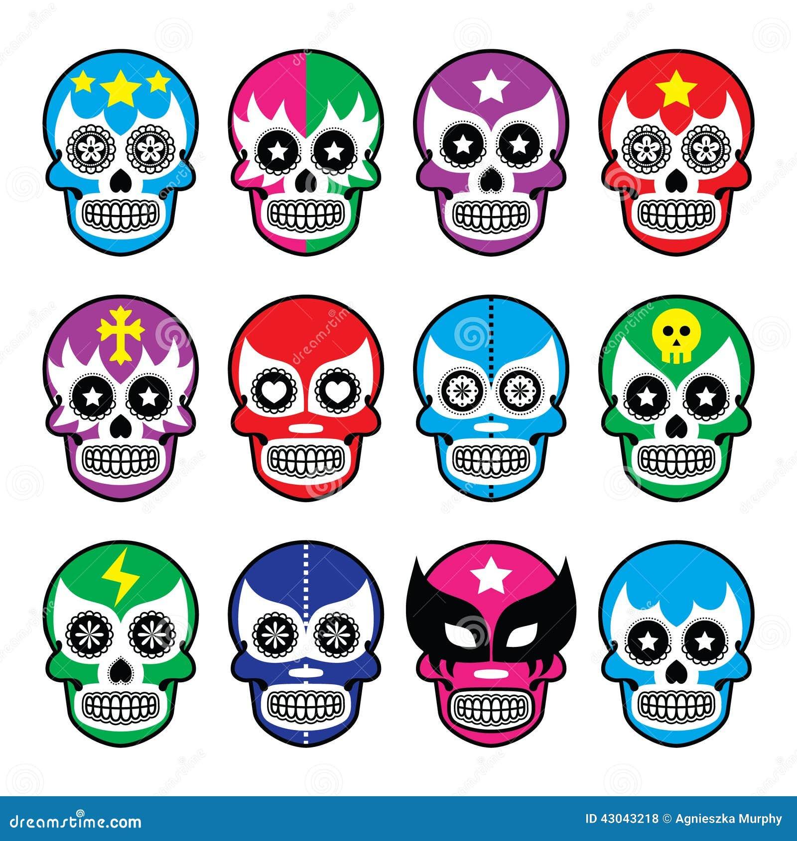 Lucha Libre Sugar Skull Masks Icons Stock Vector Image