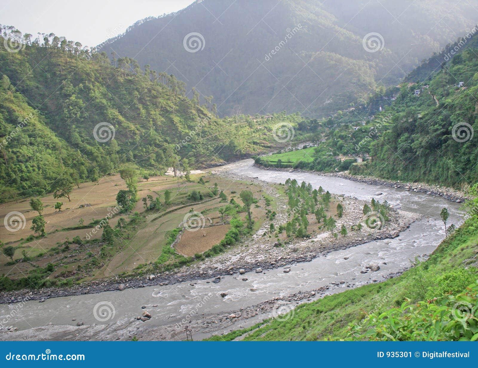 Lucht mening van het winden van gangarivier door uttaranchal himalay