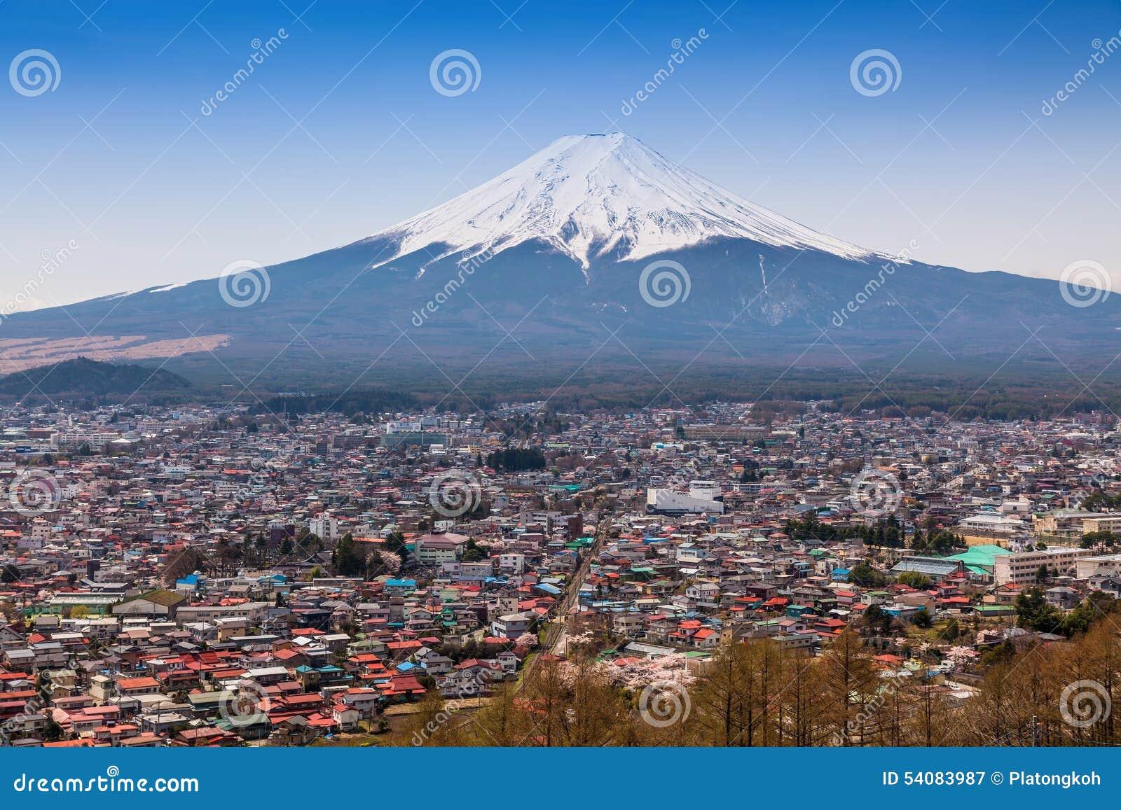 Lucht mening van MT Fuji, Fujiyoshida, Japan
