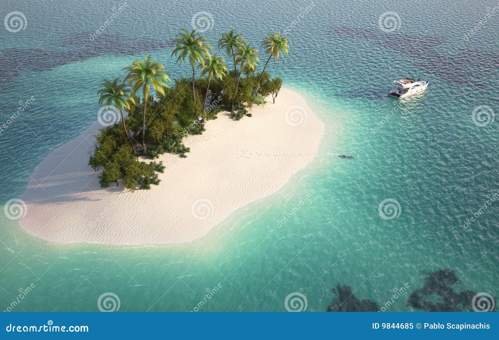 Lucht mening van paradijseiland