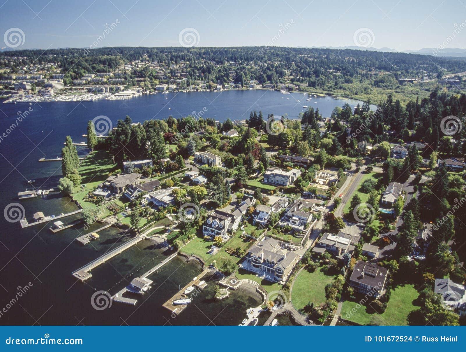 Luchtbeeld van Bellevue-gebied in Seattle, Washington