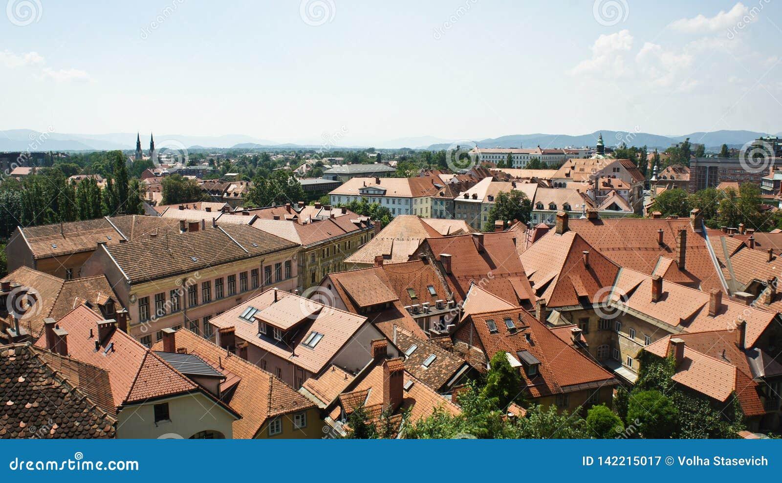 Luchtfoto, Toneelmening van de daken van oude stad, zonnige dag, Ljubljana, Slovenië