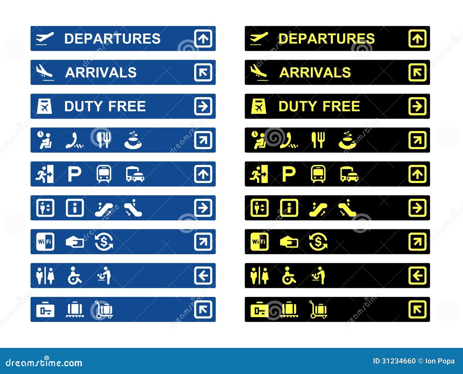 Luchthaven eindbanners en symbolen