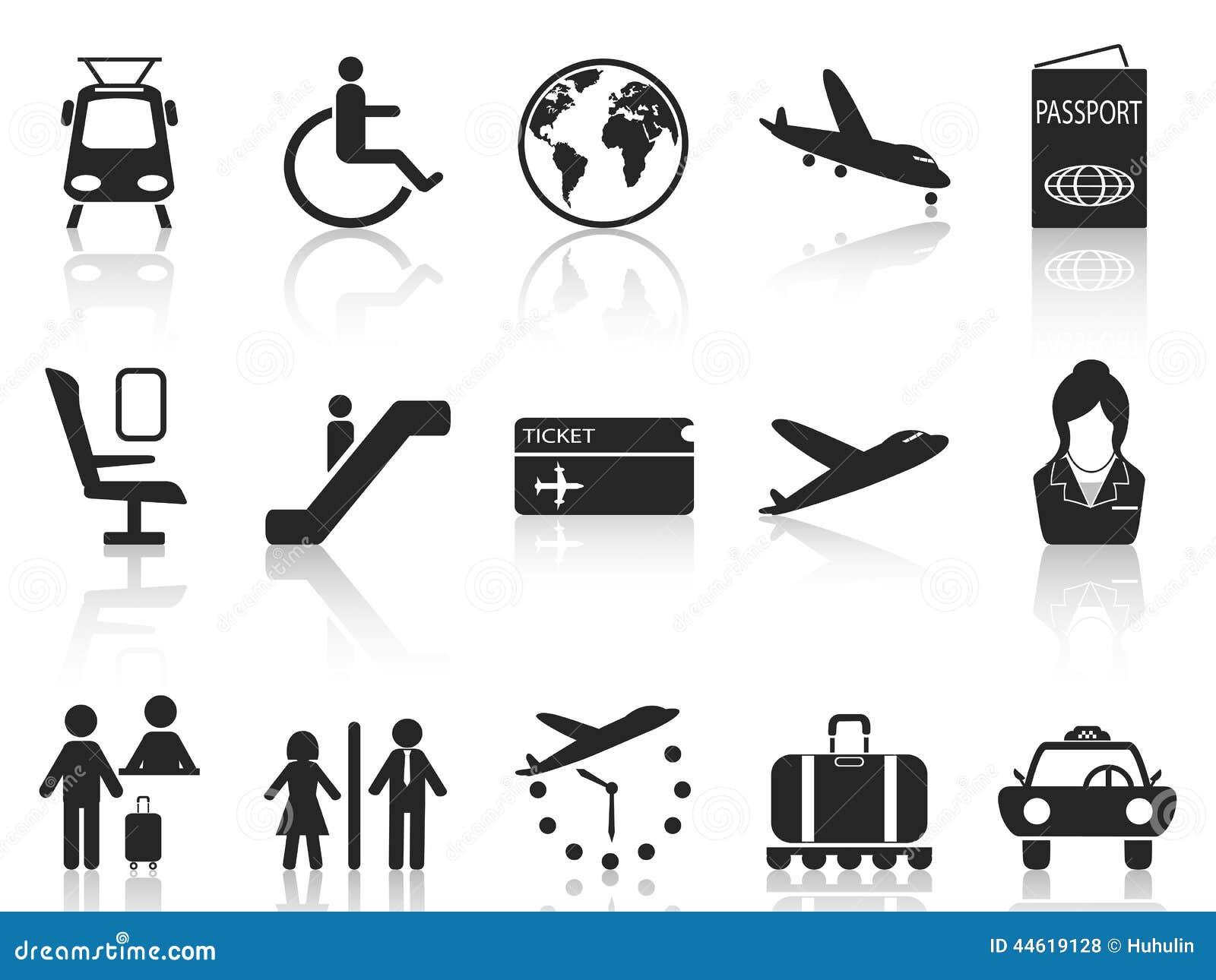 Luchthaven en reis geplaatste pictogrammen