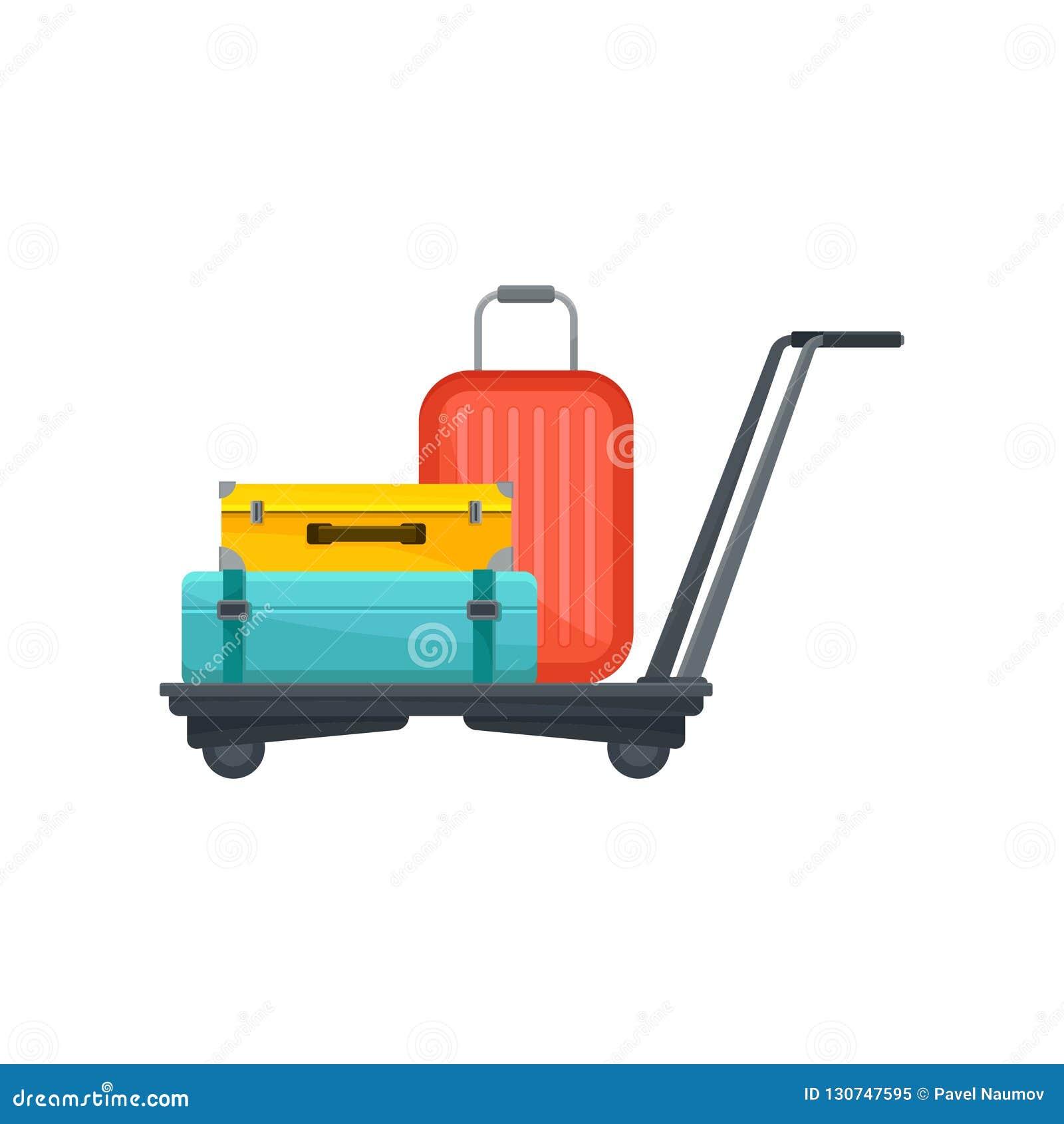 Luchthavenkarretje met koffers Reiszakken van toeristen Bagage van passagiers Bagagethema Vlak vectorontwerp