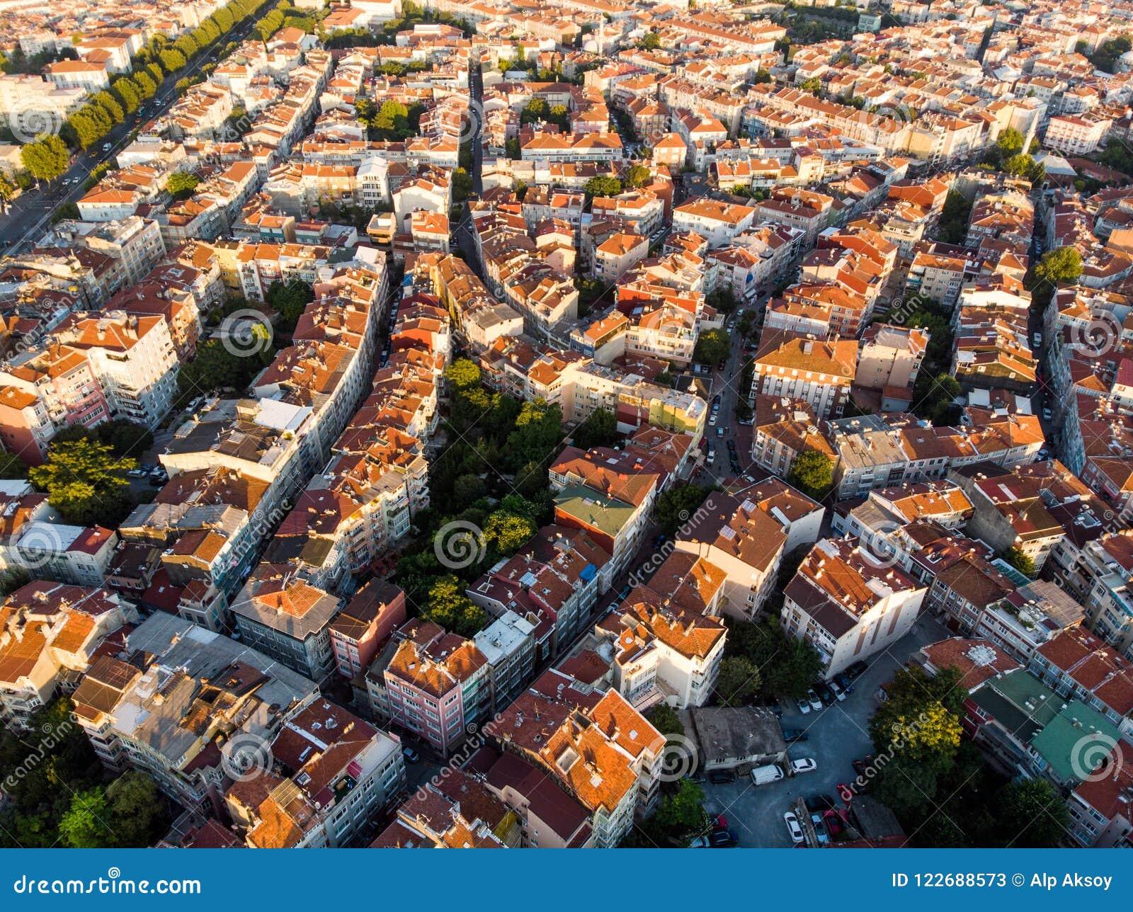 Luchthommelmening van Ongeplande Urbanisatie Istanboel Capa Sehremini Aksaray/Turkije