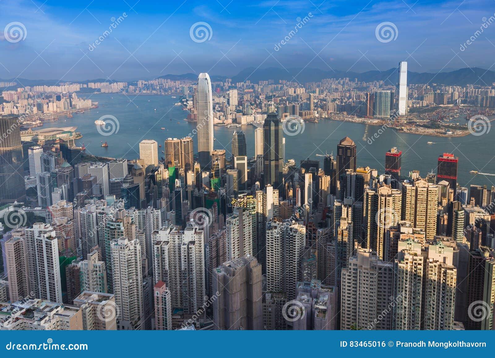 Luchtmening, Hong Kong-stad de stad in over Victoria Harbour