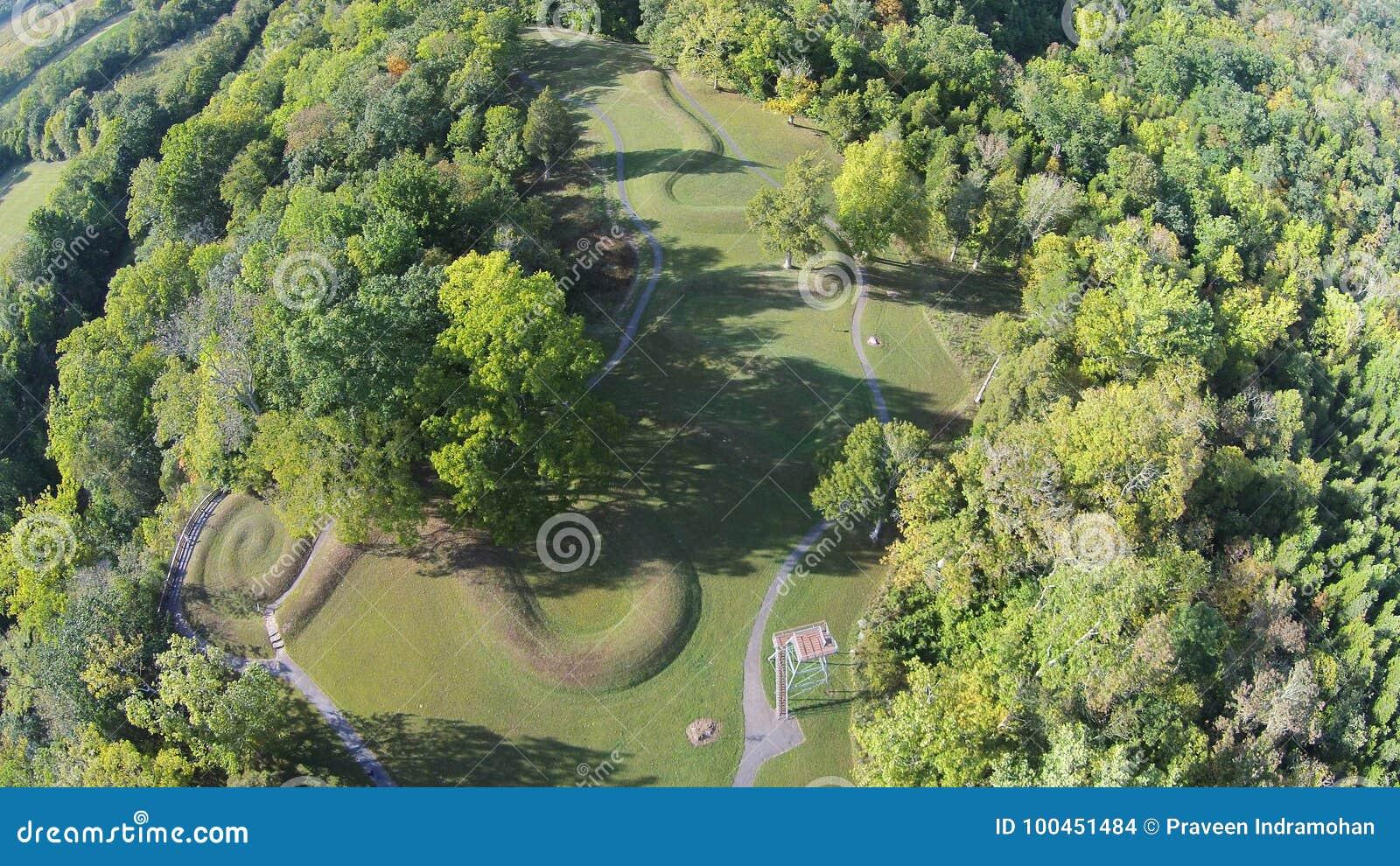 Luchtmening van de Grote Serpenthoop van Ohio