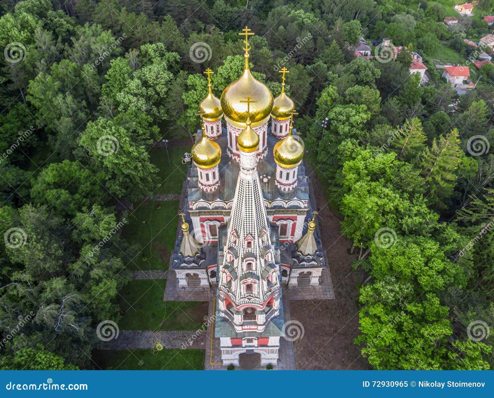 Luchtmening van de Kerk dichtbij Shipka
