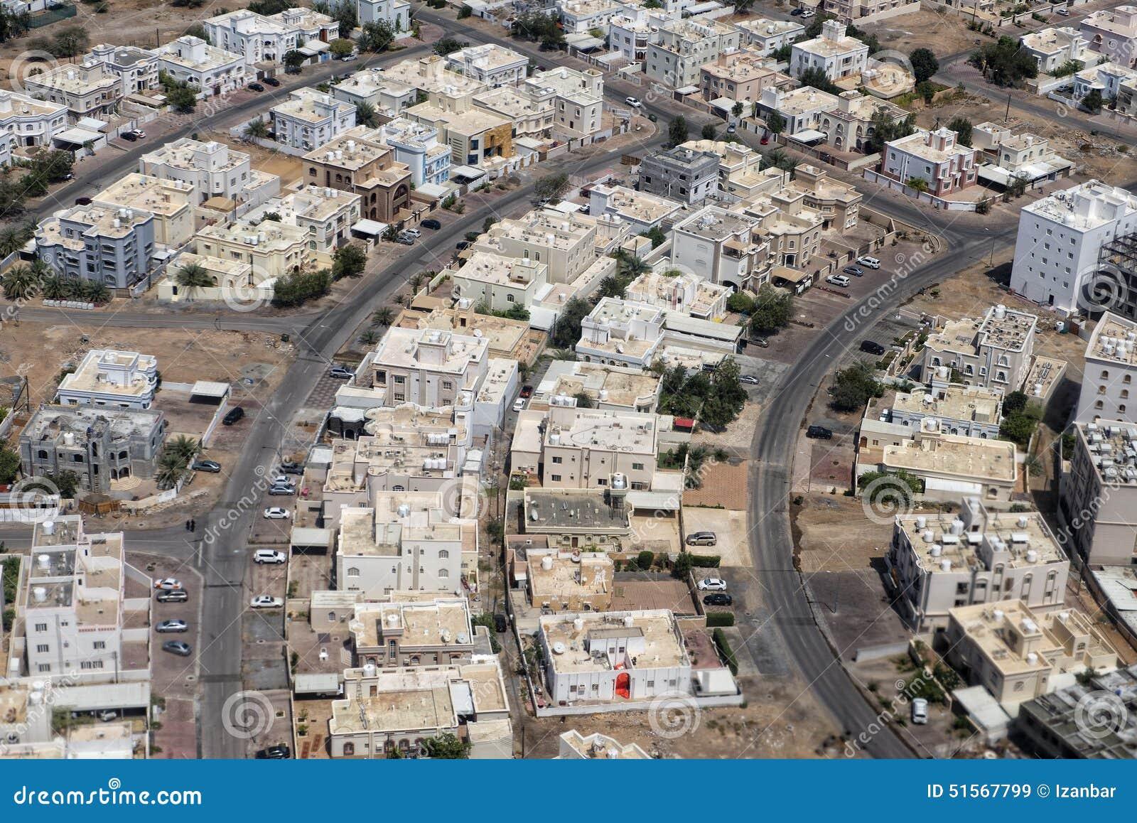 Luchtmening van de muscateldruif de Arabische stad landcape
