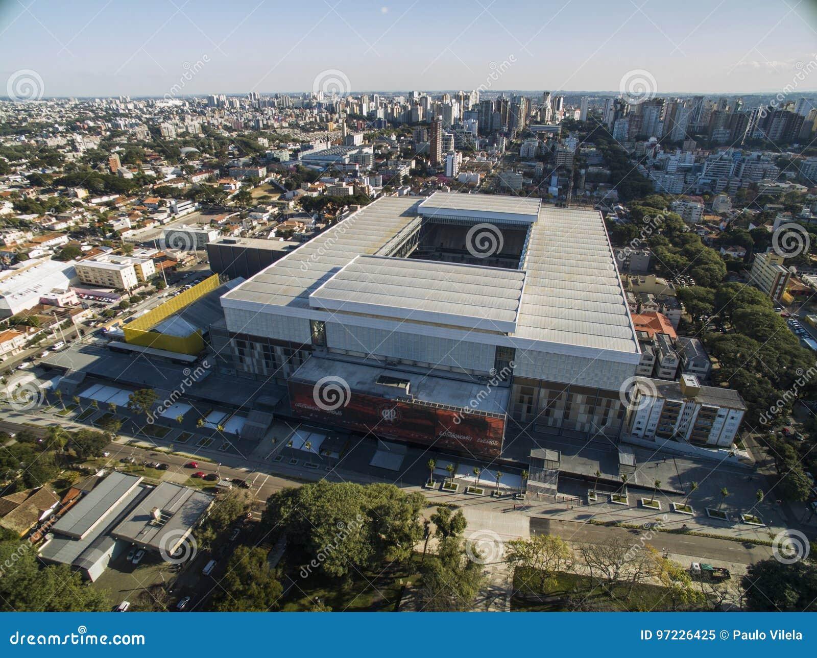 Luchtmening van voetbalstadion van de paranaense atletische club Baixada van arenada curitiba parana Juli 2017