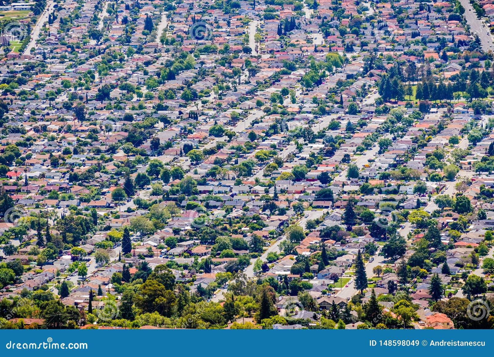 Luchtmening van woonbuurt in San Jose, baaigebied de Zuid- van San Francisco, Californi?