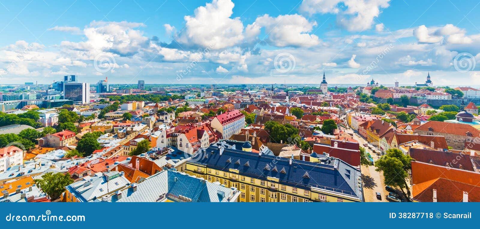 Luchtpanorama van Tallinn, Estland