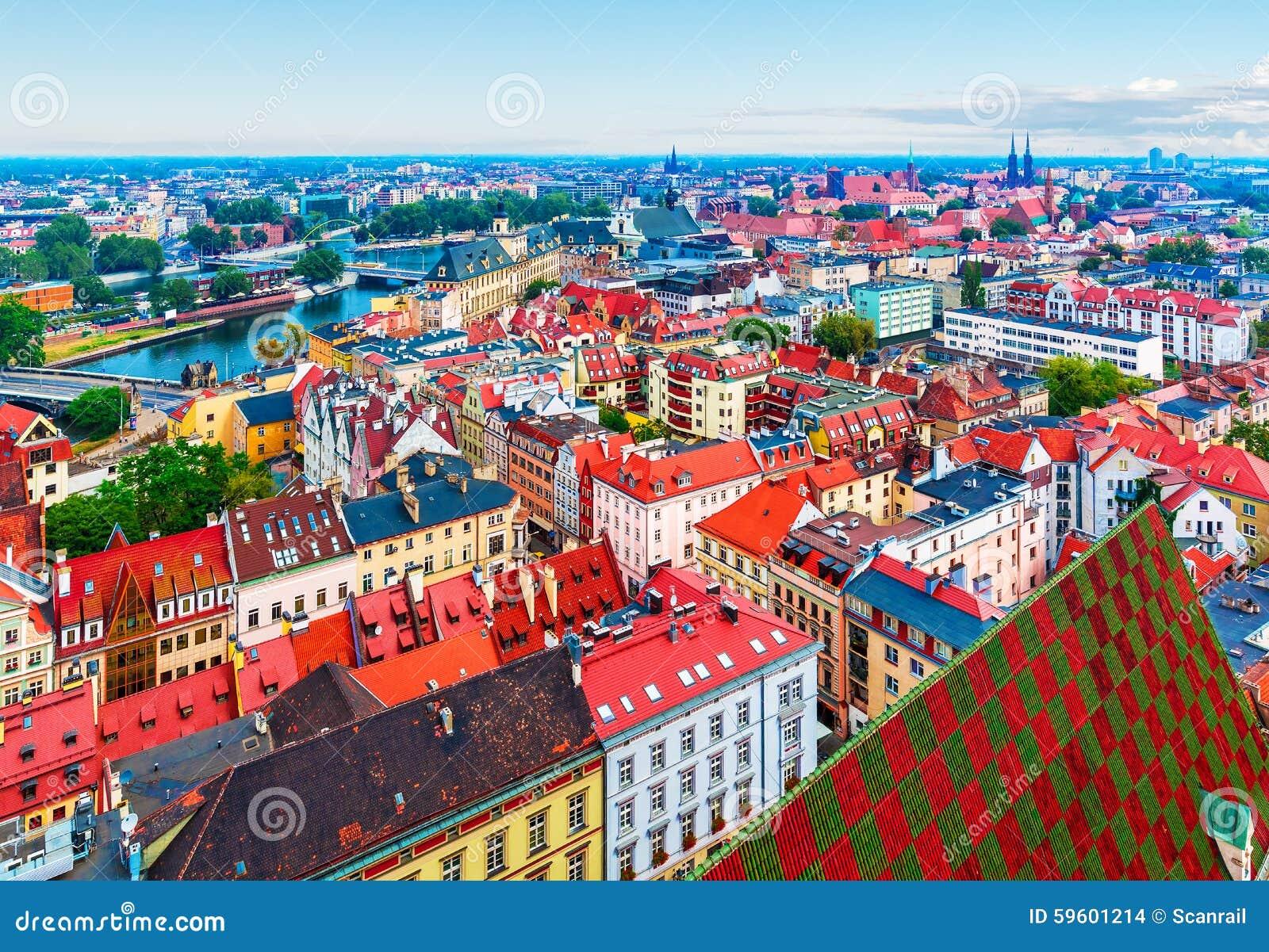 Luchtpanorama van Wroclaw, Polen