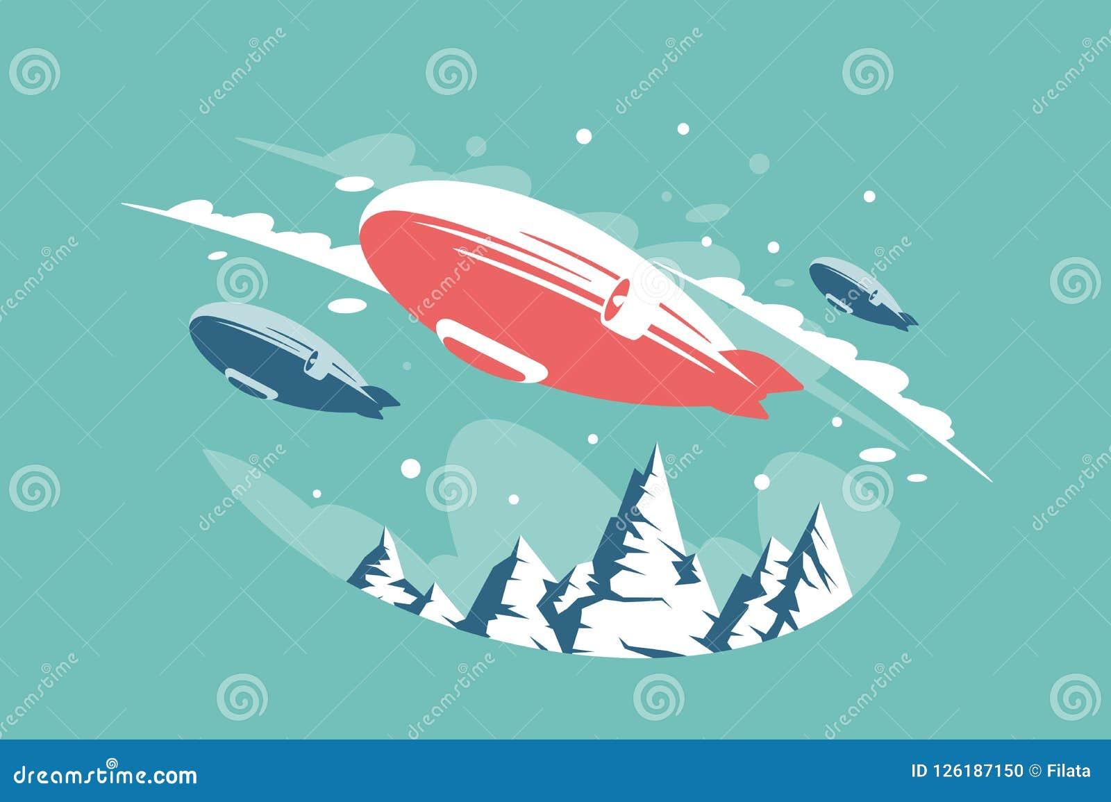 Luchtschepen in lucht boven sneeuwbergen