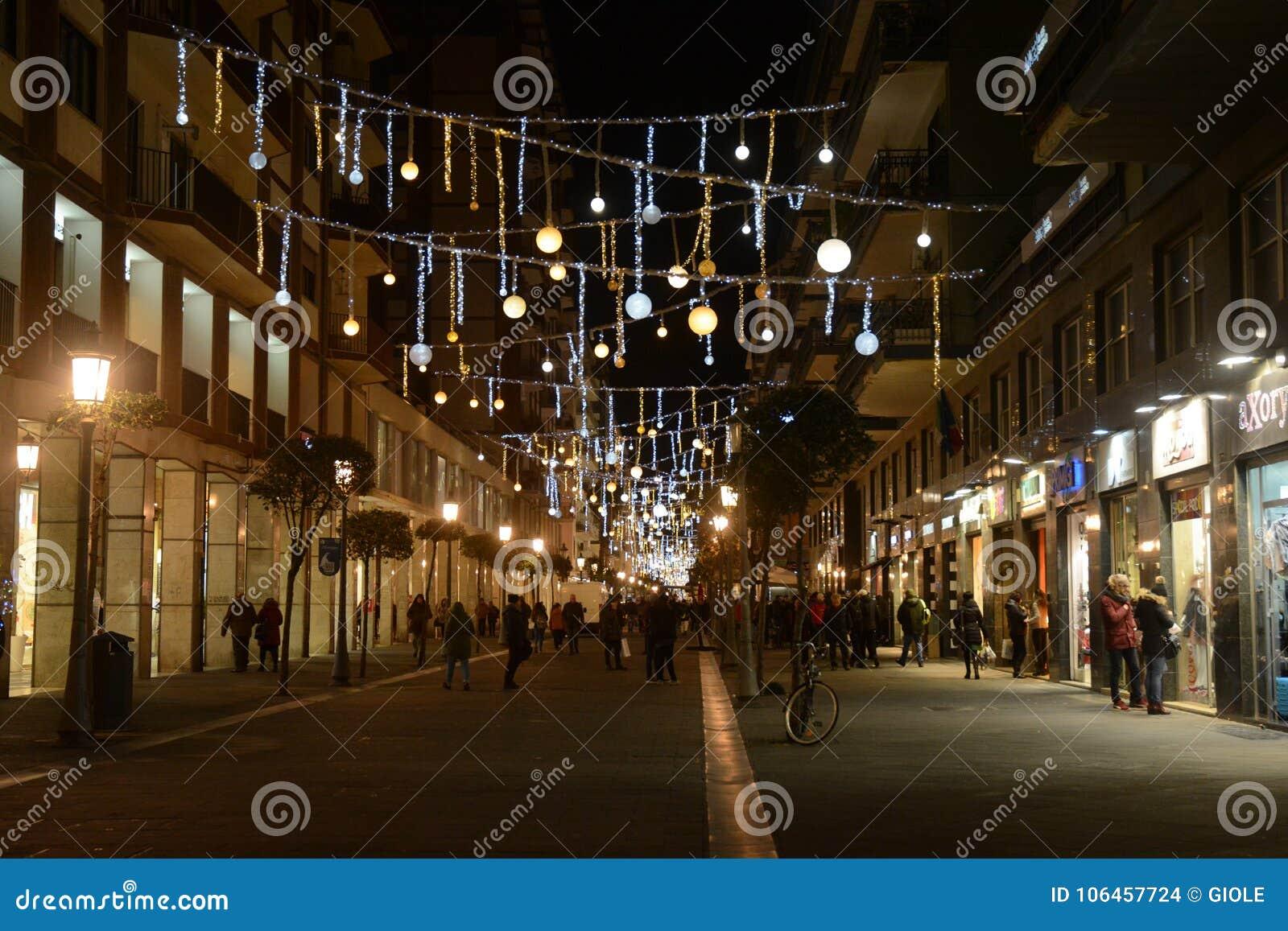 Illuminazione natalizia salerno sud italia. editorial stock image