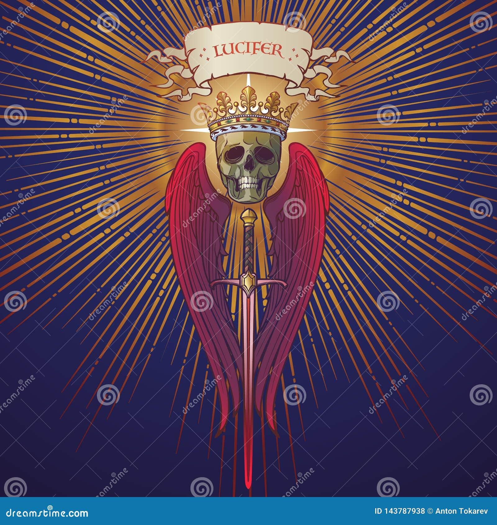Lucifer follen ángel en un triángulo de oro con los haces luminosos que irradian detrás