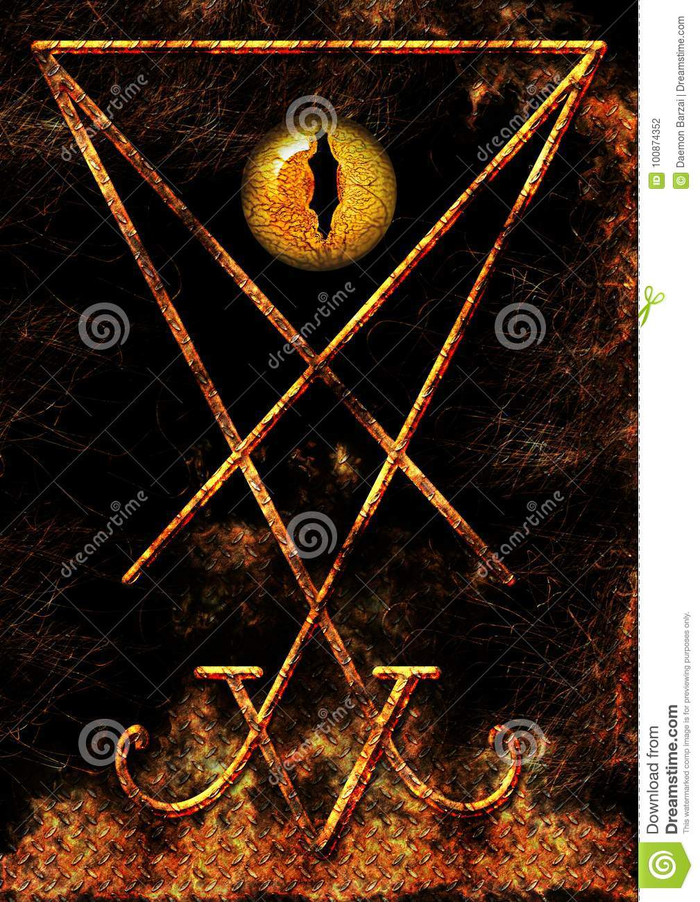 Lucifer Symbol With A Reptilian Eye Stock Illustration