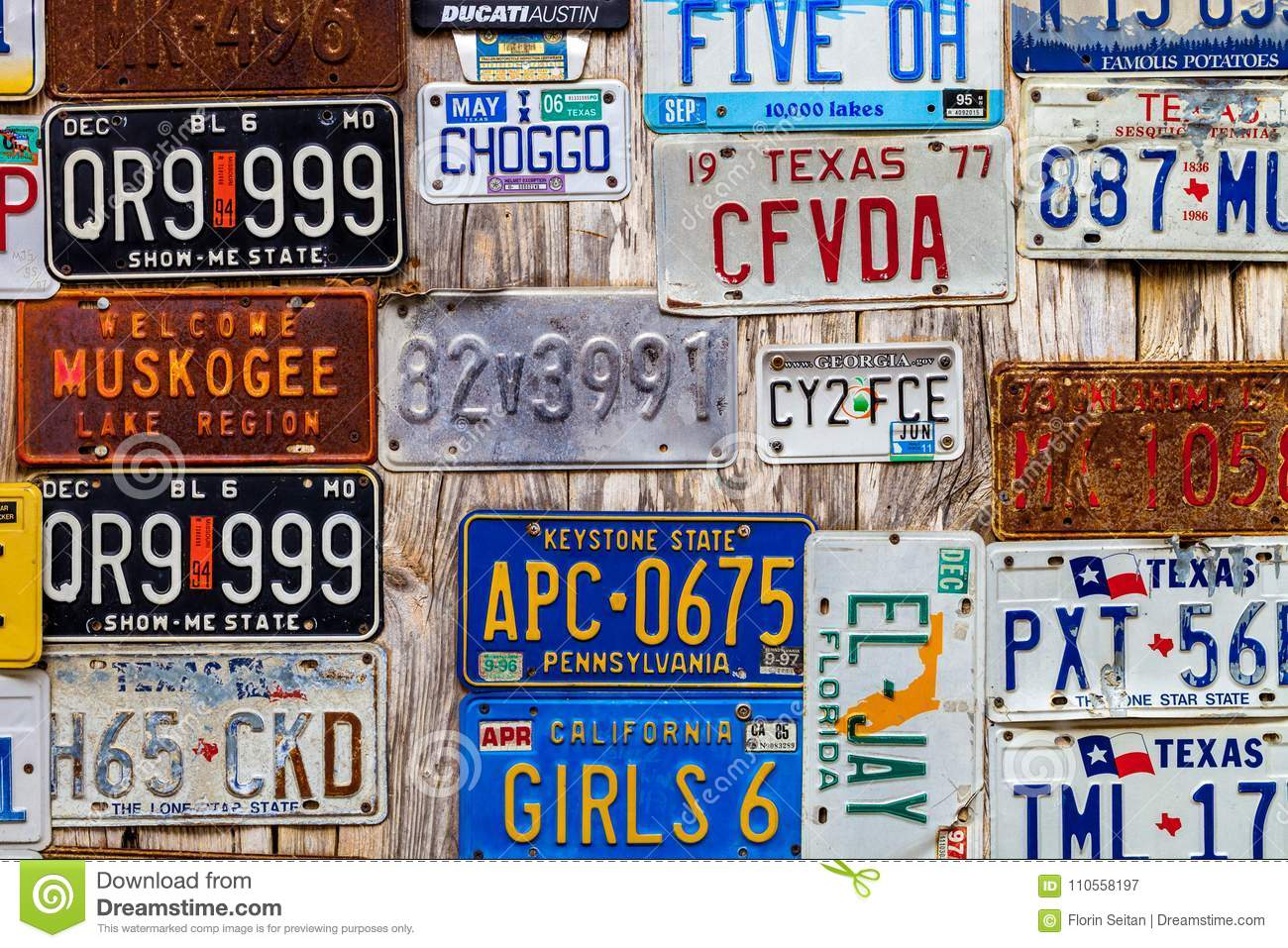 LUCKENBACH, TX - JANUARY 11, 2018 - Various Old License Plates D ...