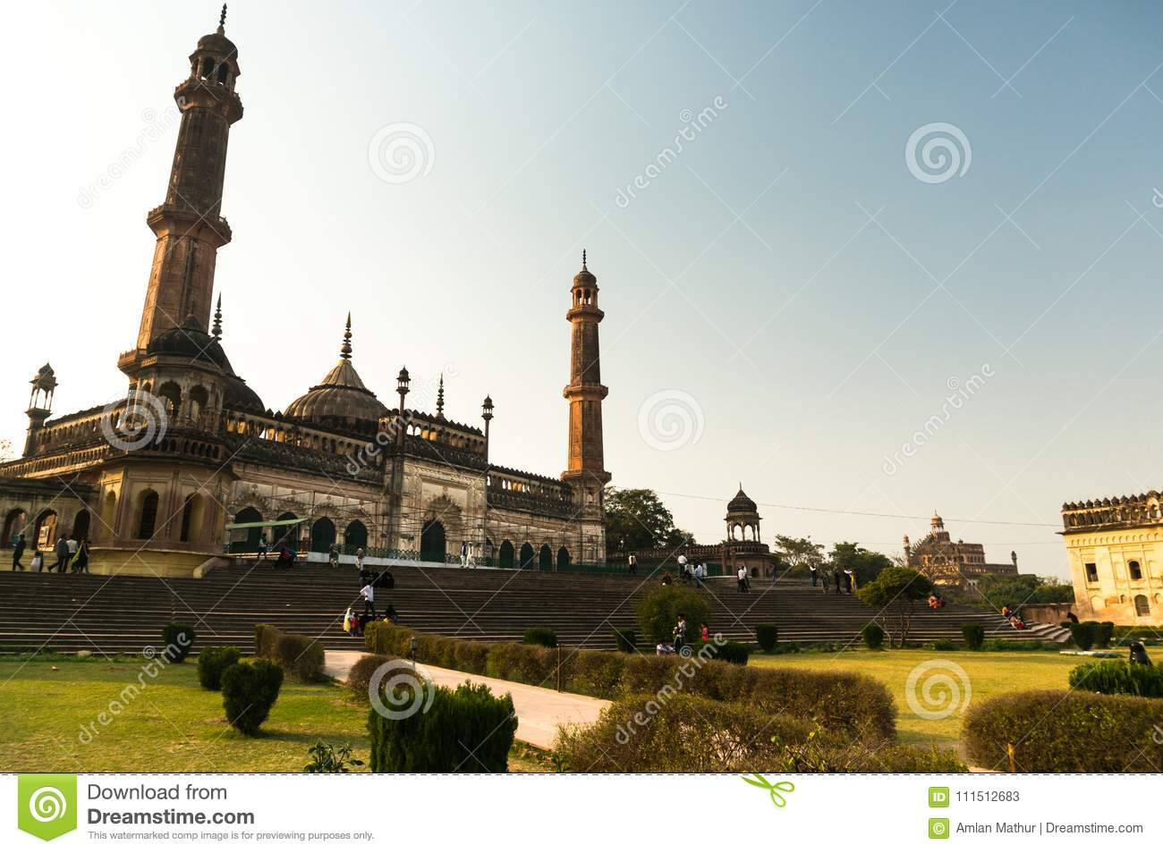 The bara imambara mosque and gardens in lucknow