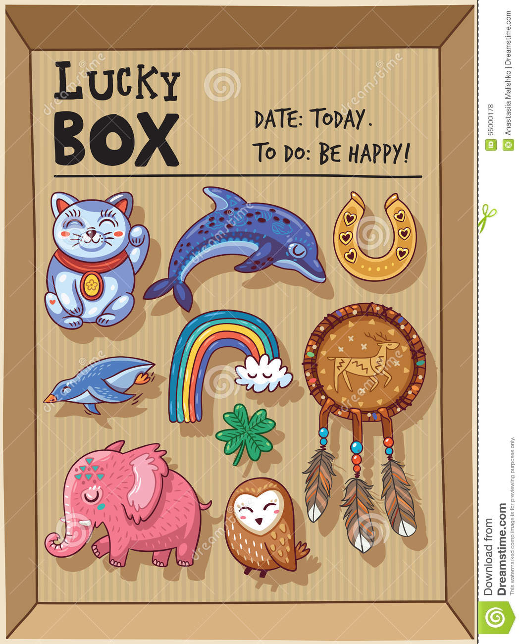 Lucky Amulets And Happy Symbols Collection In A Cardboard Box Stock