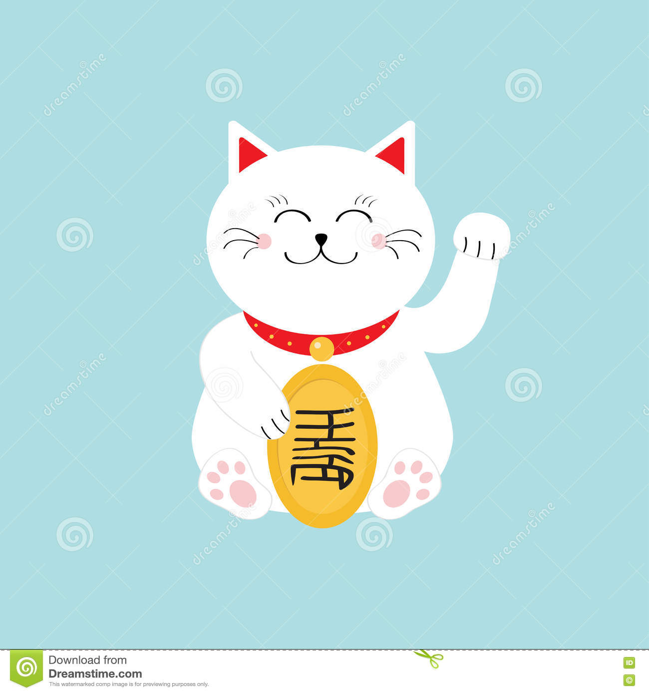 Lucky Cat Sitting And Holding Golden Coin Japanese Maneki Neco Cat