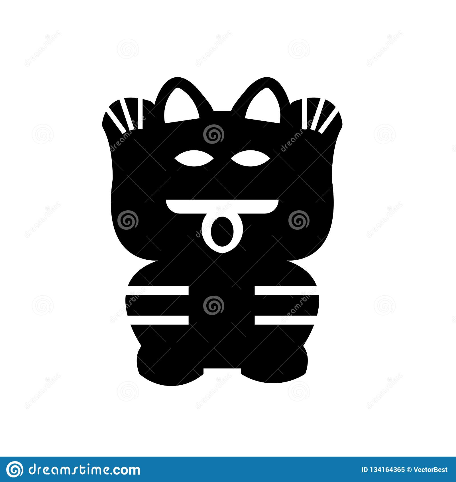 Lucky Cat Toy Icon Vector Sign And Symbol Isolated On White