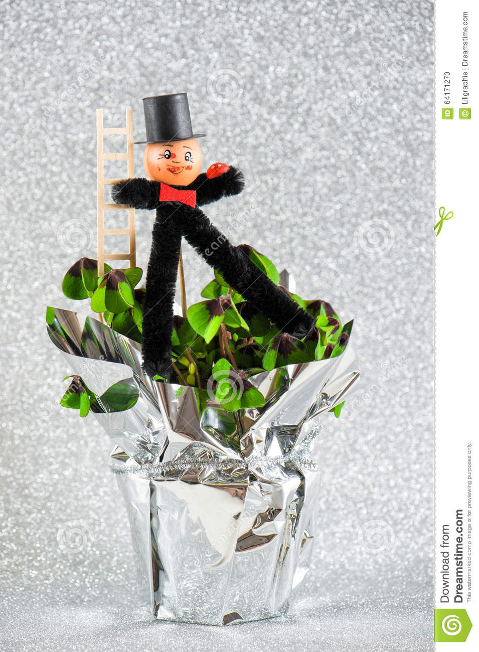 Lucky charm chimney sweep with shamrock new year stock photo royalty free stock photo biocorpaavc Image collections