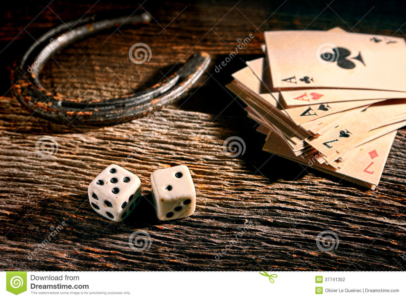Lucky Craps Dice and Poker Cards by Old Horseshoe