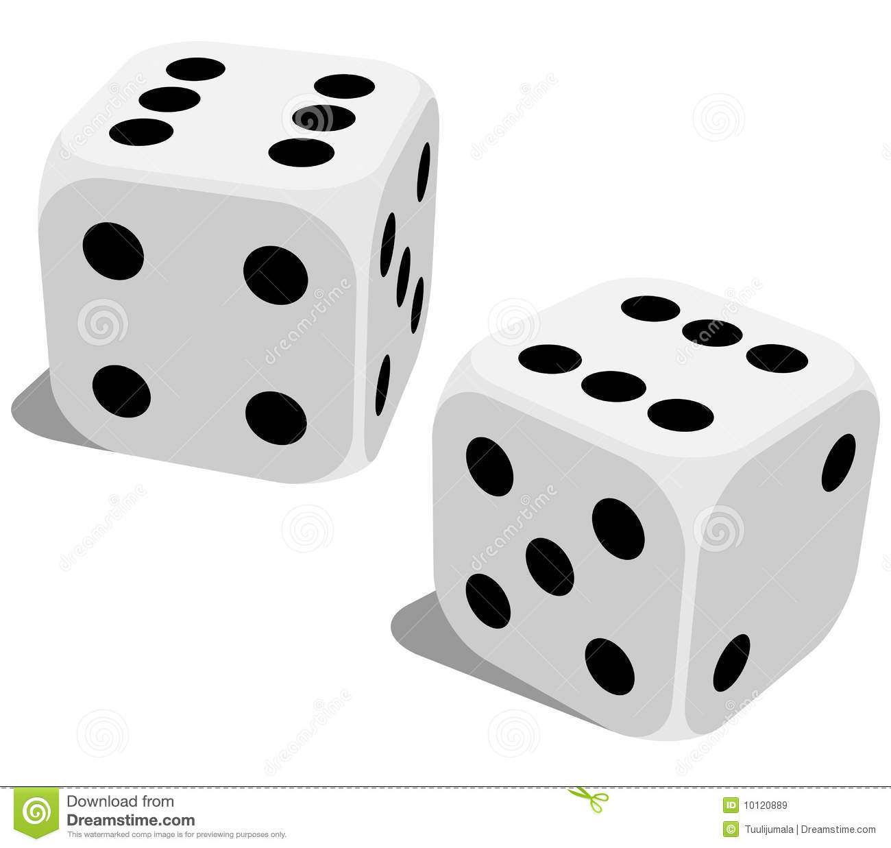 Vector illustration of white dice with double six roll. No gradients ...