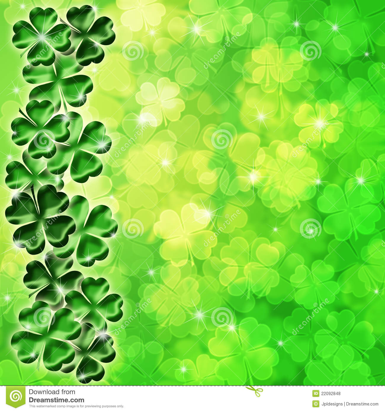 Lucky Irish Four Leaf Clover Shamrock Sparkles on Blurred Background ...