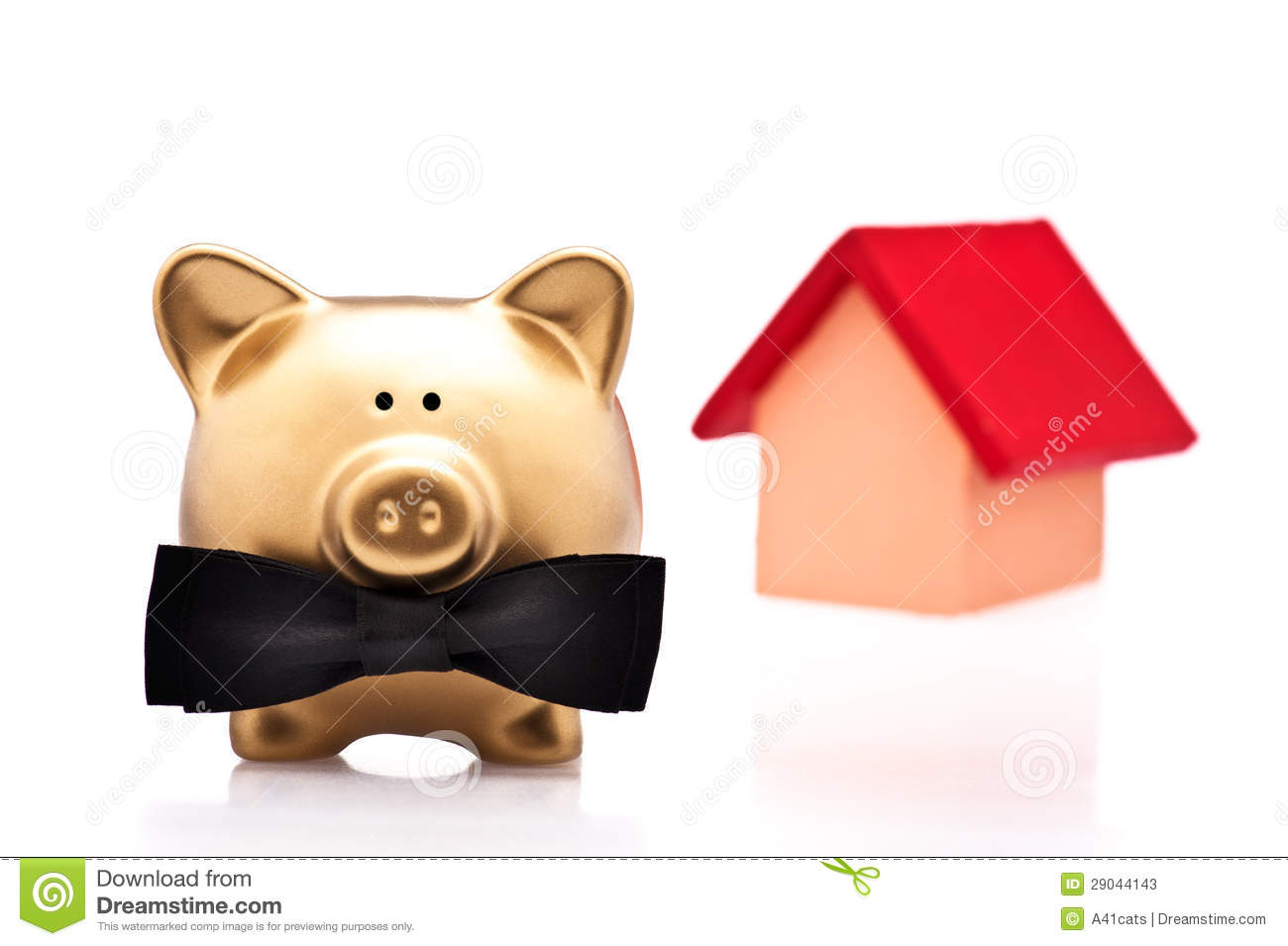 The Lucky Home Owner A Golden Pig Stock Photos Image