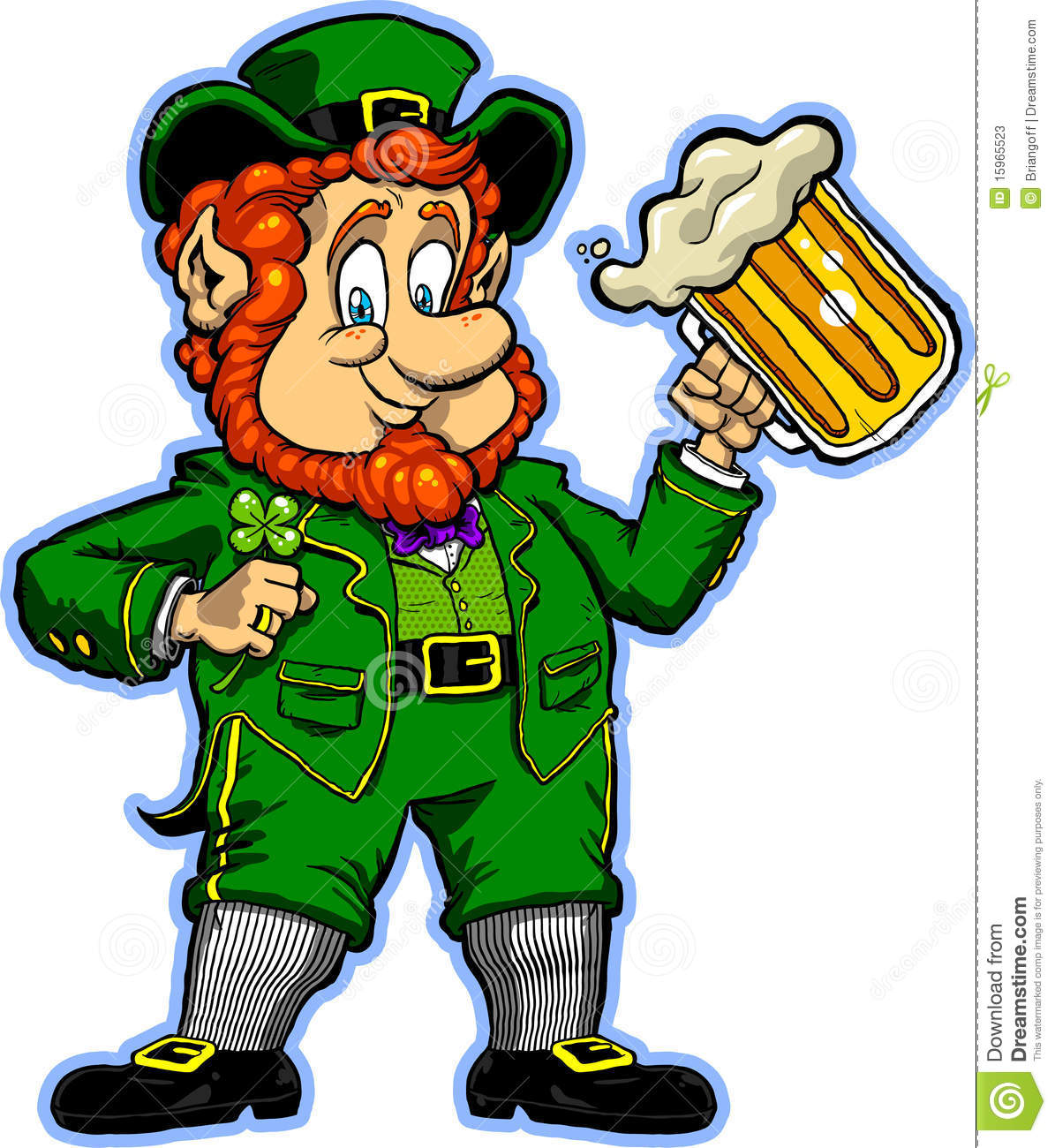 illustration of a cartoon leprechaun holding a lucky clover and a mug ...
