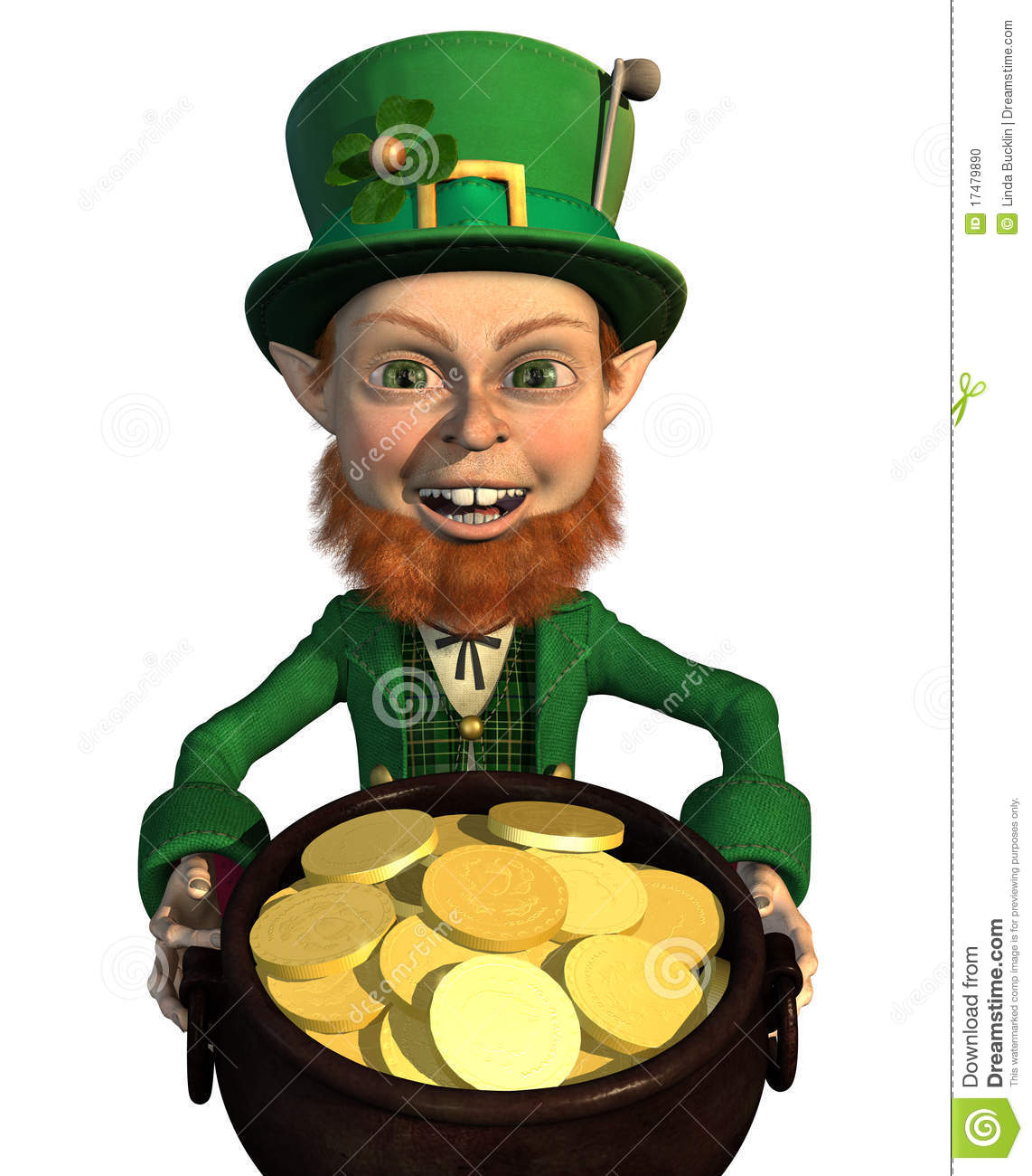 leprechaun finds a pot of gold - he's rich!! 3D render.