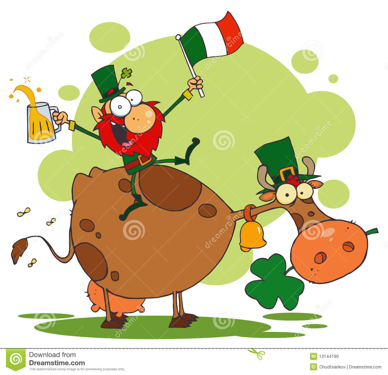 Lucky Leprechaun Riding A Cow Stock Vector - Illustration of ...