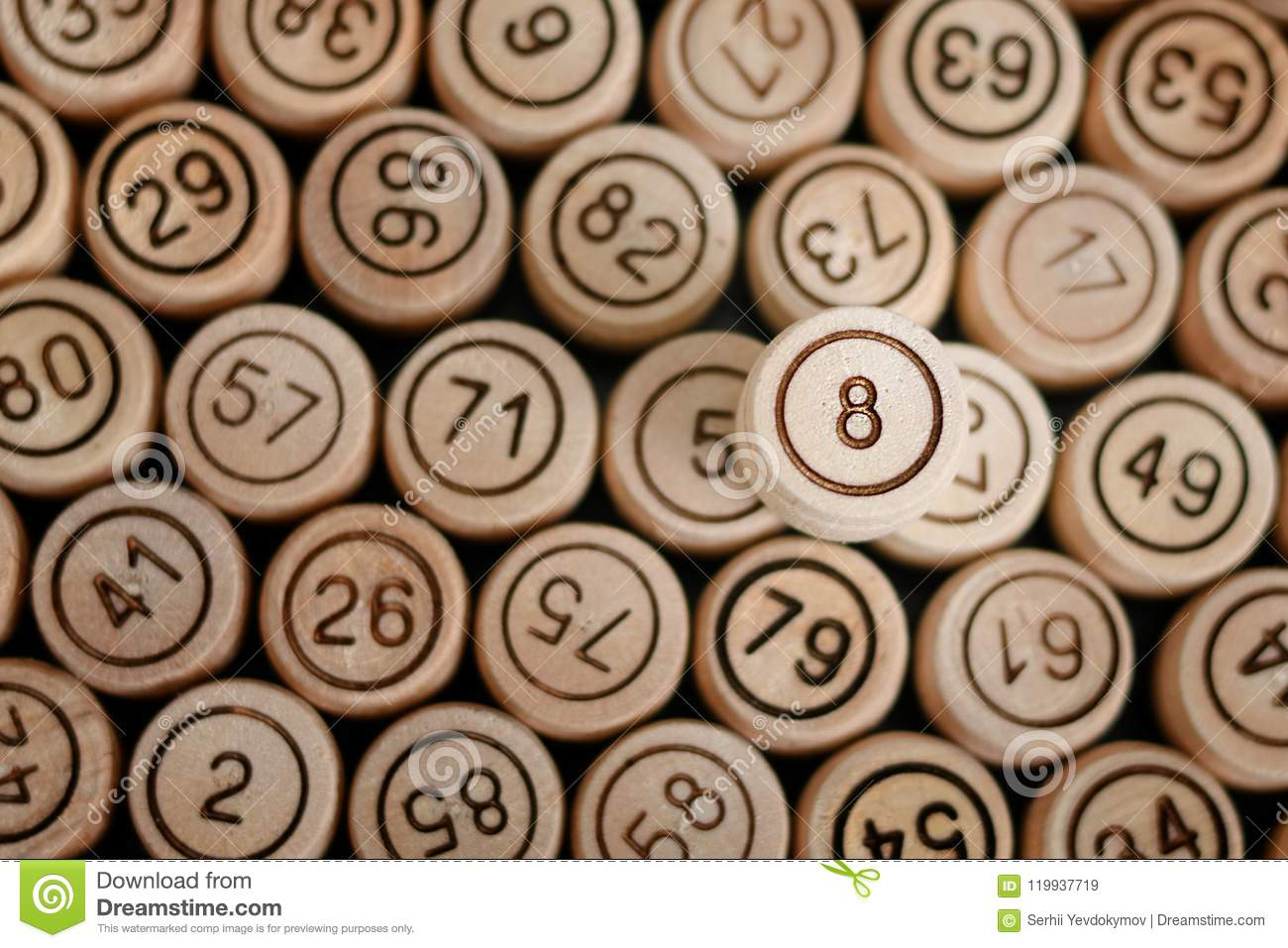 Lucky Number 8 On The Background Of Wooden Keg Lotto  Close Up Stock
