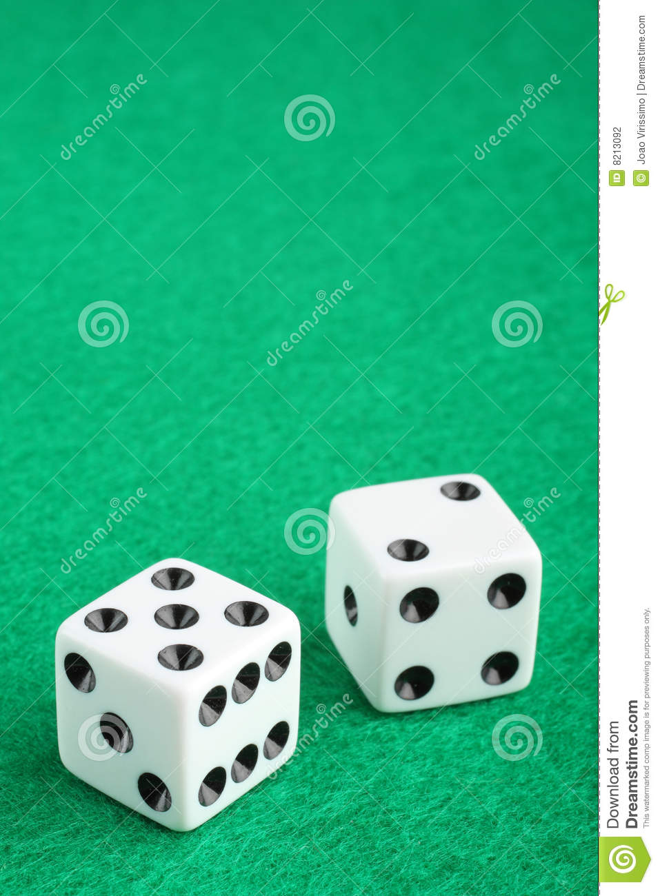 Lucky seven dice on gambling table