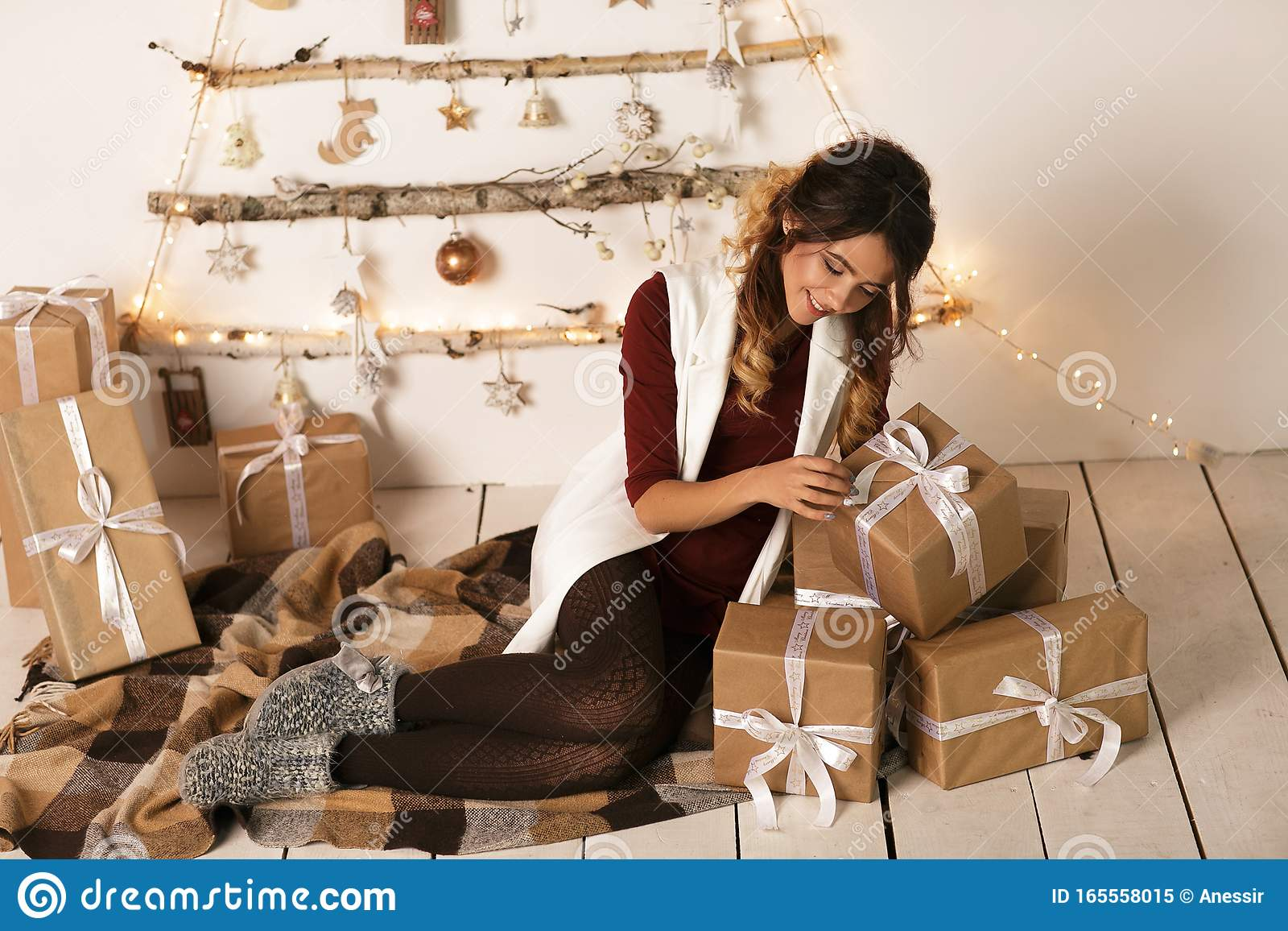 Open Christmas Presents 2020 Cheerful Beautiful Woman Open The Christmas Present Over White