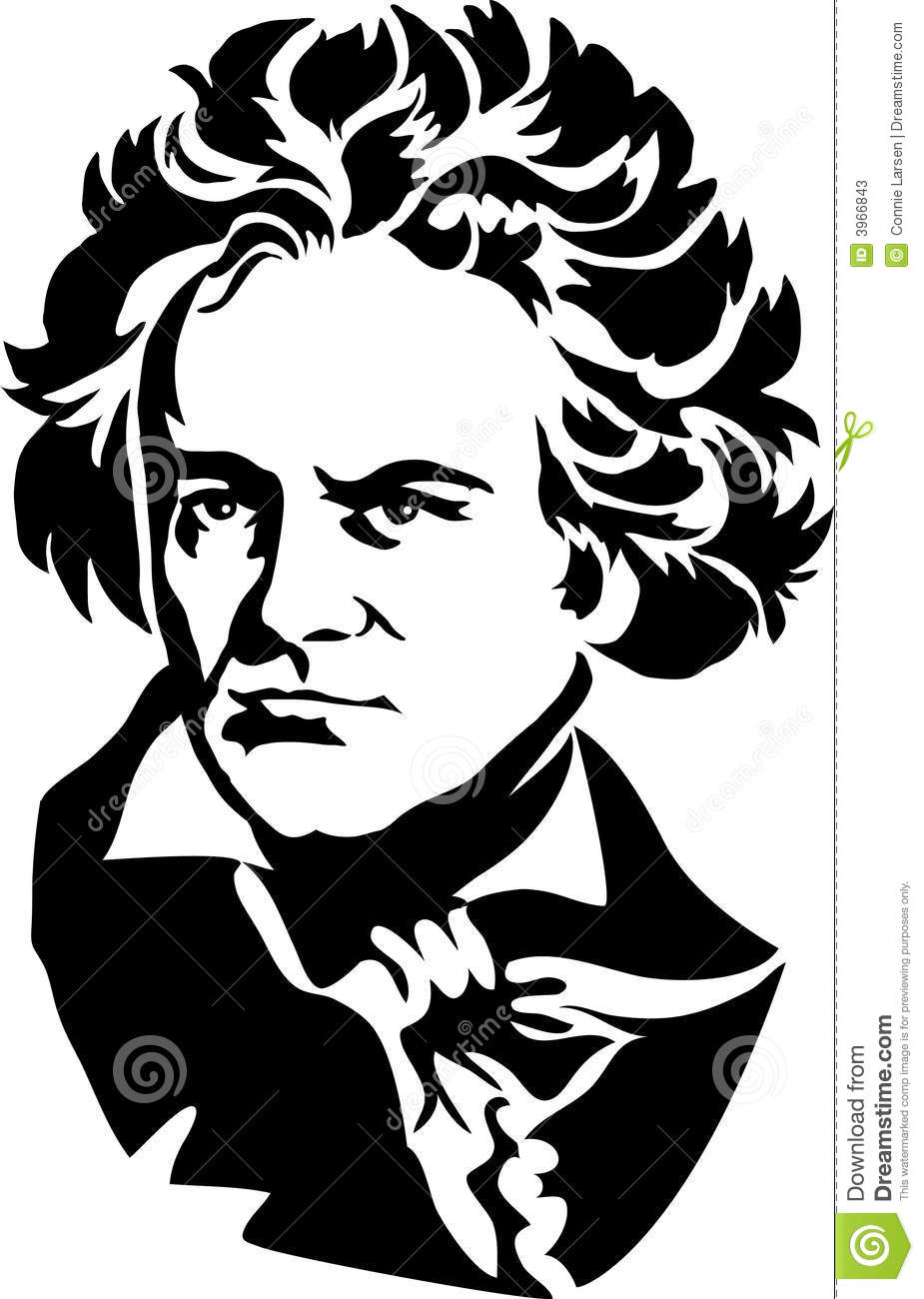 Black and White Illustration of the famous German composer Ludwig van ...