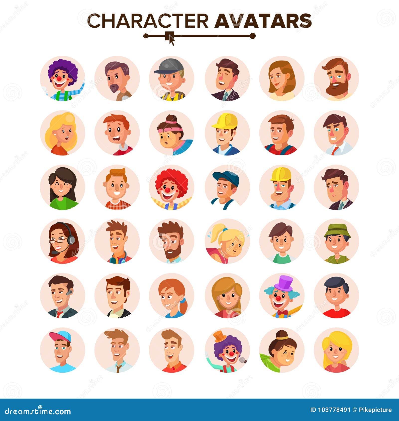Ludzie Avatars kolekci wektoru Braków charakterów Avatar Kreskówki mieszkania odosobniona ilustracja