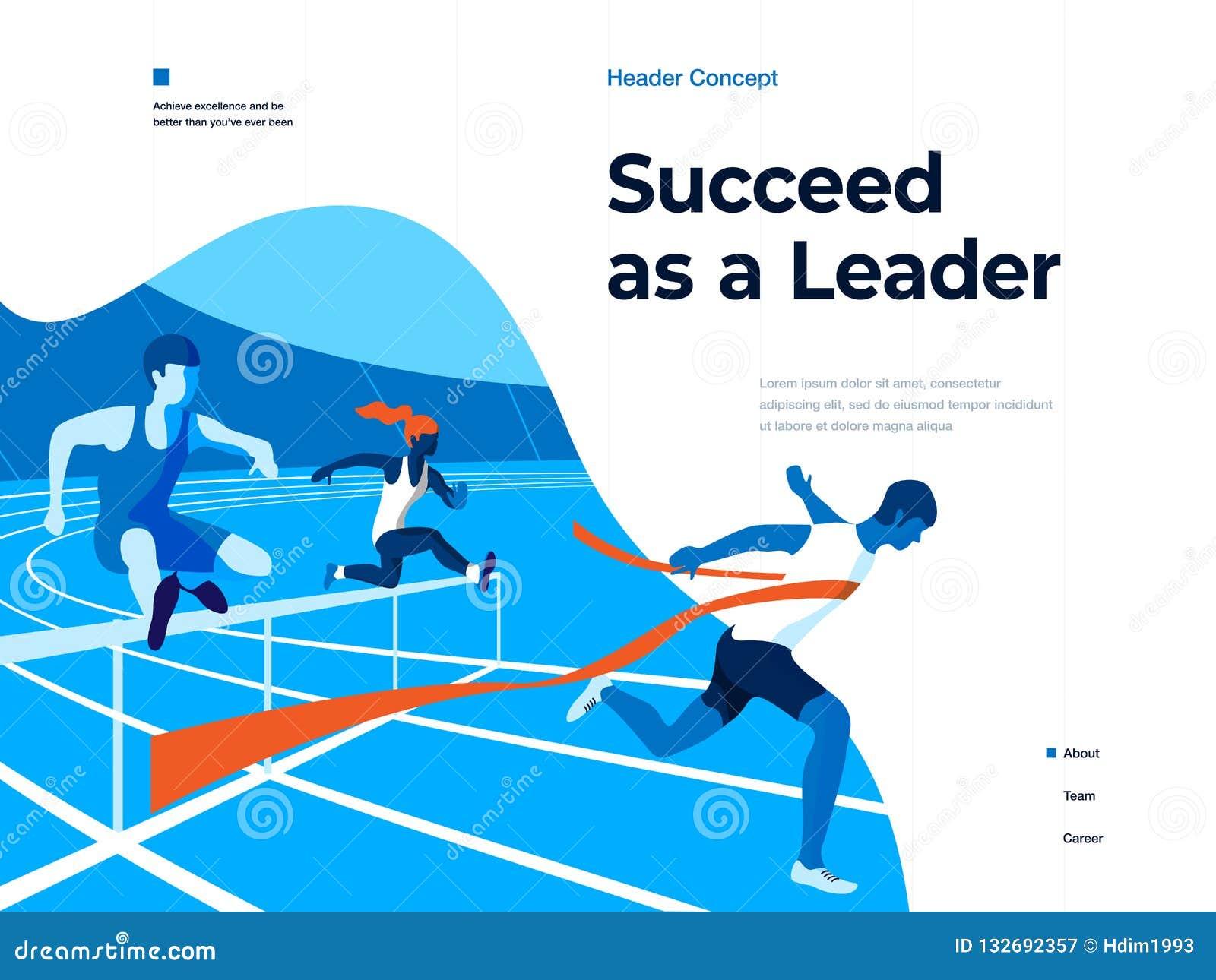 Ludzie biega na stadium wygrywać i udawać się Biznes i przywódctwo Płaska wektorowa ilustracja Desantowa strona i