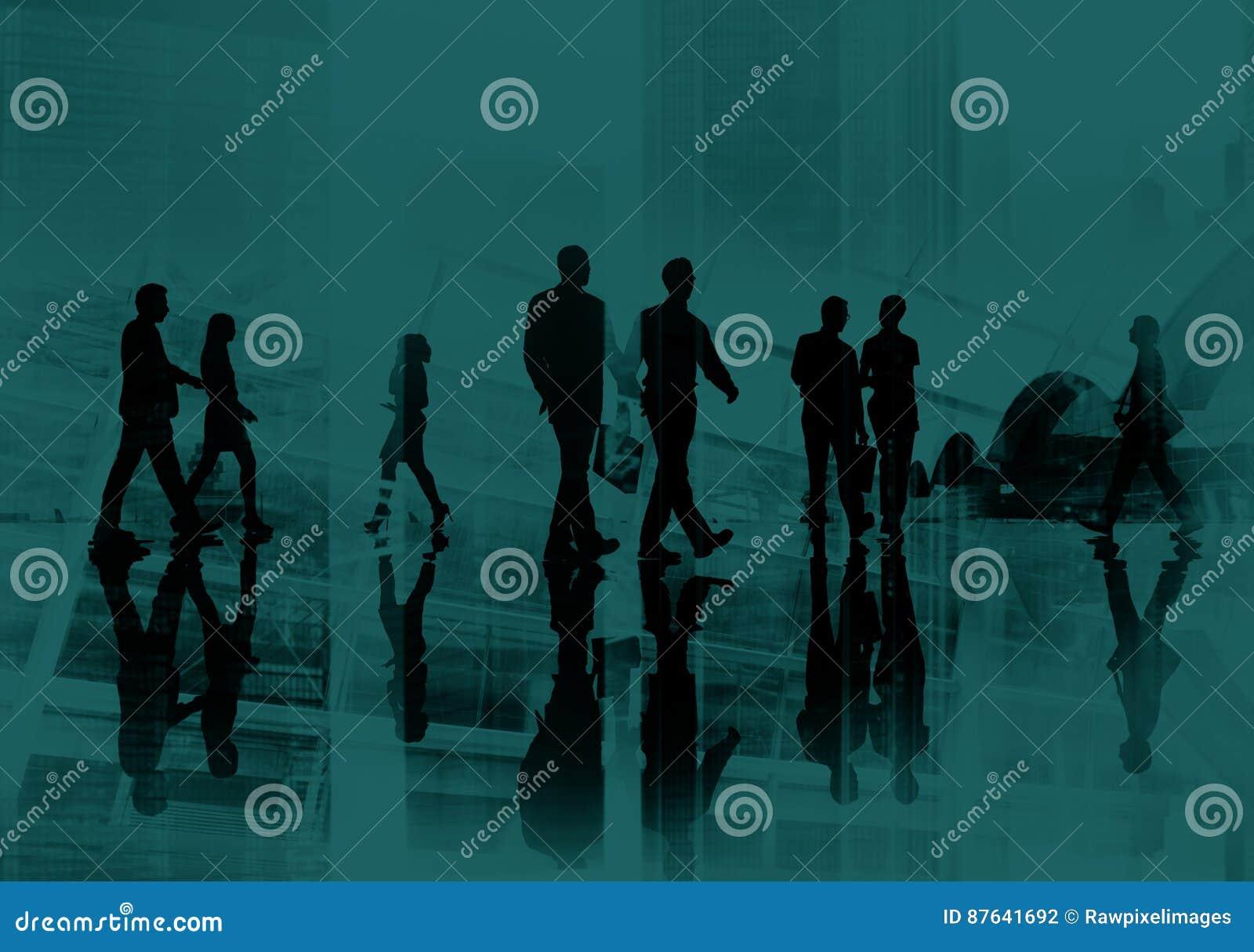 Ludzie Biznesu dojeżdżającego pejzażu miejskiego Chodzącego pojęcia