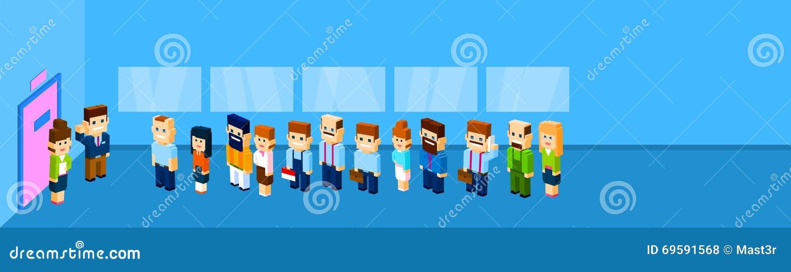 Ludzie Biznesu grupa tłumu stojaka W linii Drzwiowy Biurowy czekanie