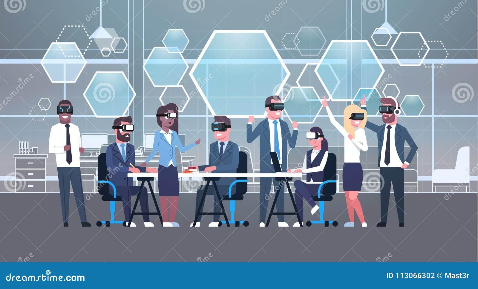 Ludzie Biznesu Grupują Być ubranym Vr słuchawki Podczas Brainstorming, drużyna W 3d szkłach Na spotkanie rzeczywistości wirtualne