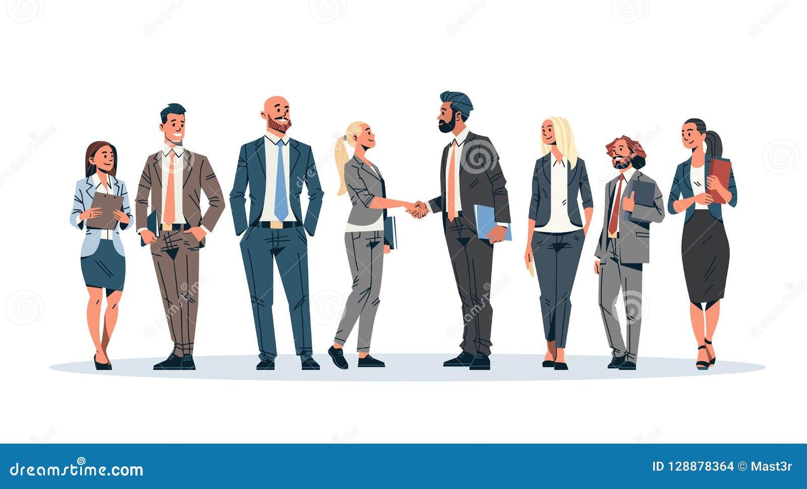 Ludzie biznesu grupy ręki potrząśnięcia zgody komunikuje pojęcie biznesmenów kobiet lidera zespołu spotkania samiec kobiety