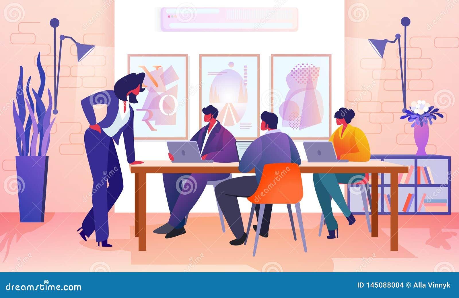 Ludzie Biznesu Komunikuje w Nowo?ytnym biurze