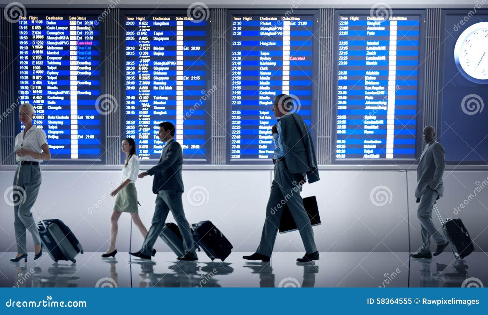 Ludzie Biznesu Lotniskowego Terminal podróży odjazdu pojęcia