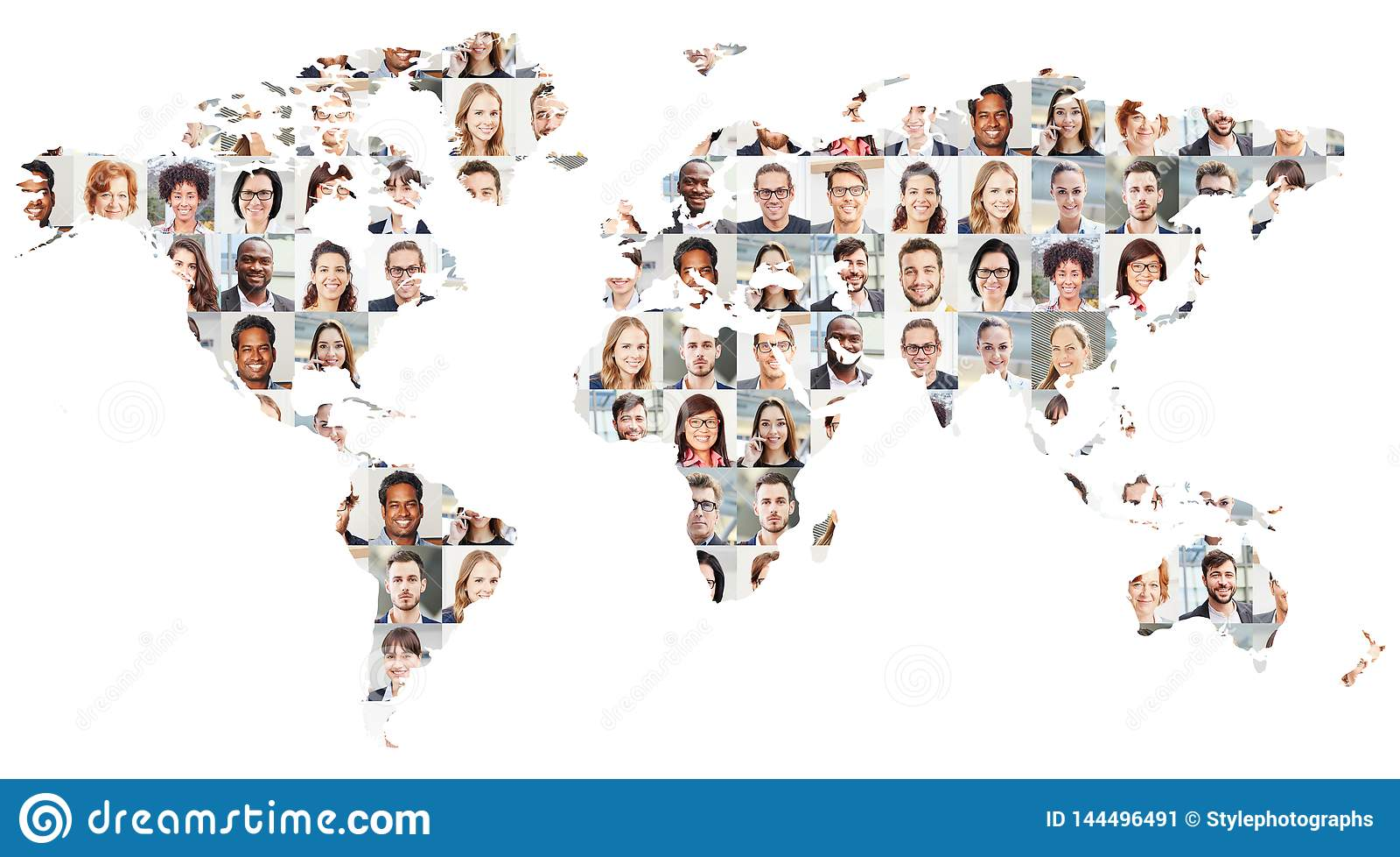 Ludzie biznesu portreta kolażu na światowej mapie